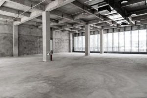 Newly constructed commercial space using concrete in a commercial site,miami