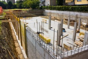 Newly constructed foundation using concrete for housing construction site